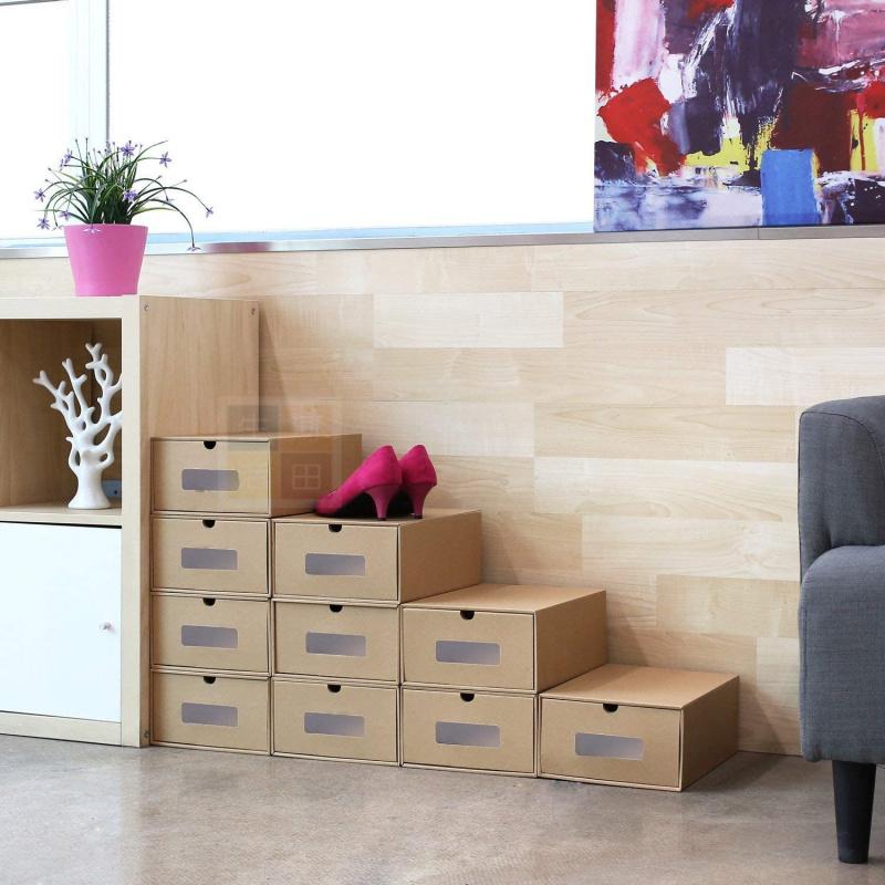 3 件裝鞋盒 DIY 自摺環保厚料紙板儲物箱/鞋盒