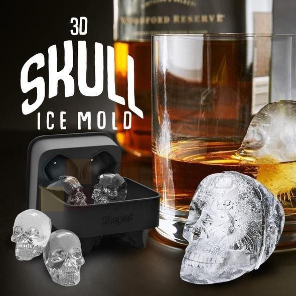 骷髏頭冰塊 食品級3D矽膠模具 萬聖節 威士忌 酒杯 冰淇淋 蛋糕烘焙 肥皂 巧克力 蠟燭模 帶蓋製冰盒 冰球模具 DIY冰塊