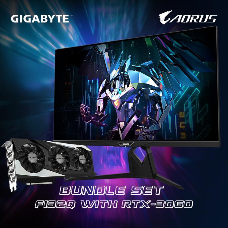 """【限定店優惠】GIGABYTE RTX 組合套裝 (RTX 3060 + AORUS 32"""" 2K HDR電競螢幕 FI32Q)"""