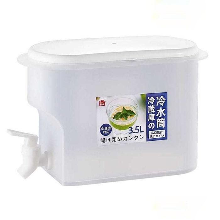 日式3.5L按壓式耐熱冷水壺- 家用涼水壺 冷藏果汁 大容量壺 帶龍頭開關