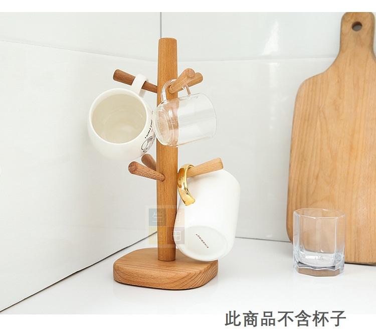 木樁掛鉤杯架6樁 – 棕色