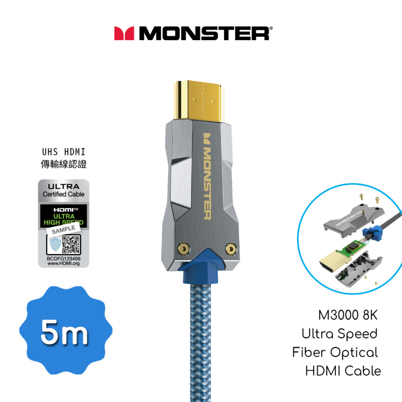 Monster 怪獸線 M3000 8K Ultra Speed Active Optical HDMI Cable(5米)