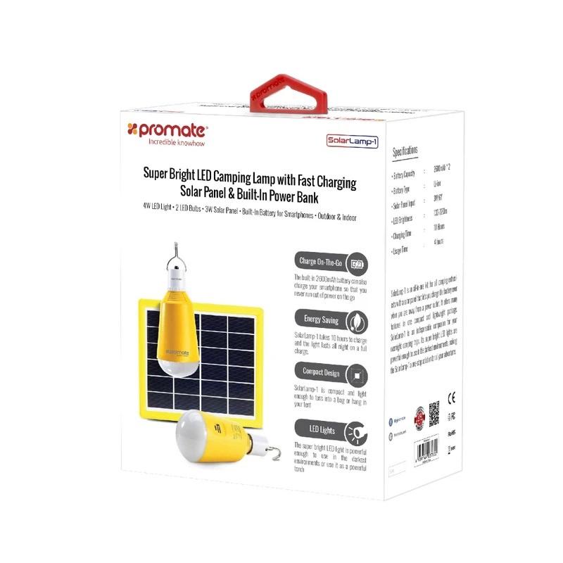 Promate SolarLamp-1 超亮LED野營燈 + 帶快速充電太陽能電池板和內置移動電源 5200mAh 【香港行貨】