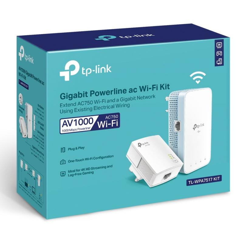 TP-Link AV1000 Gigabit Powerline ac Wi-Fi Kit WPA7517-kit 【香港行貨】