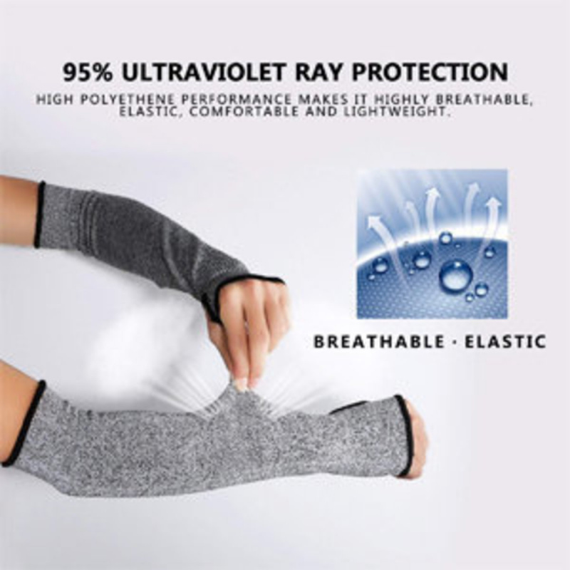 防割界傷袖套,帶拇指孔的5級防護防割袖套(灰色)一對
