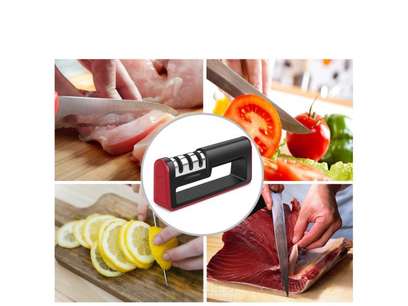 專業多功能三段式磨刀器 3合1 削刀工具 廚房快速磨刀器 不銹鋼砂輪 陶瓷 鎢鋼 金剛石 磨利刀 鋒利 刀鋒 防滑 安全