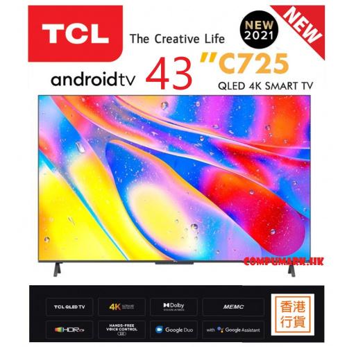 TCL 43C725 43 QLED 量子點4K ANDROID 電視C725