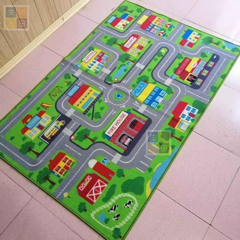 交通安全教育 可用於Tomica Lego 玩具車 兒童地墊 地氈 訓練孩子專注 (淨地毯)