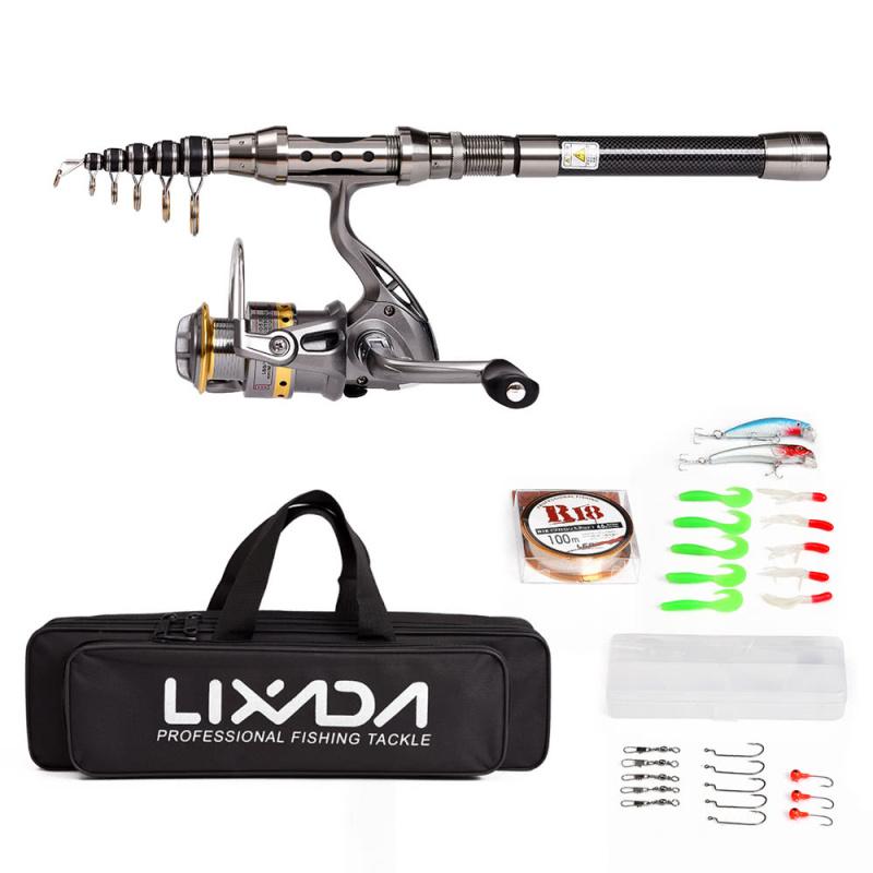 Lixada 釣魚用具套裝 (2.4米長碳纖維魚竿)