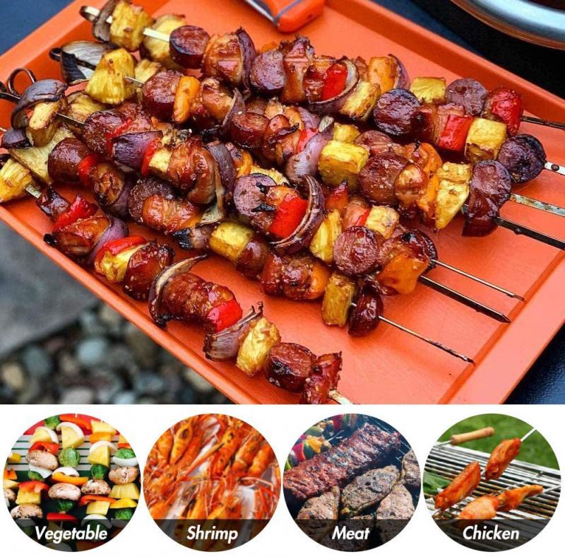 BBQ不銹鋼波浪燒烤針 可重覆使用 食品級 扁針 燒烤叉 肉串針 串燒 長型串 焗爐 露營 中秋節 嘗月 聖誕節 聚會 派對 39cm