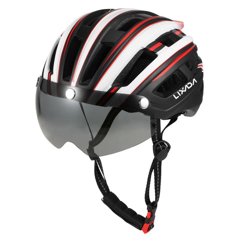 Lixada 單車頭盔連護目鏡(內置安全燈)[6色]