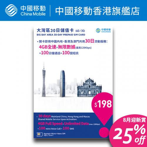 4G/3G 大灣區30日儲值卡 Prepaid SIM Card 【中國移動香港/CMHK】