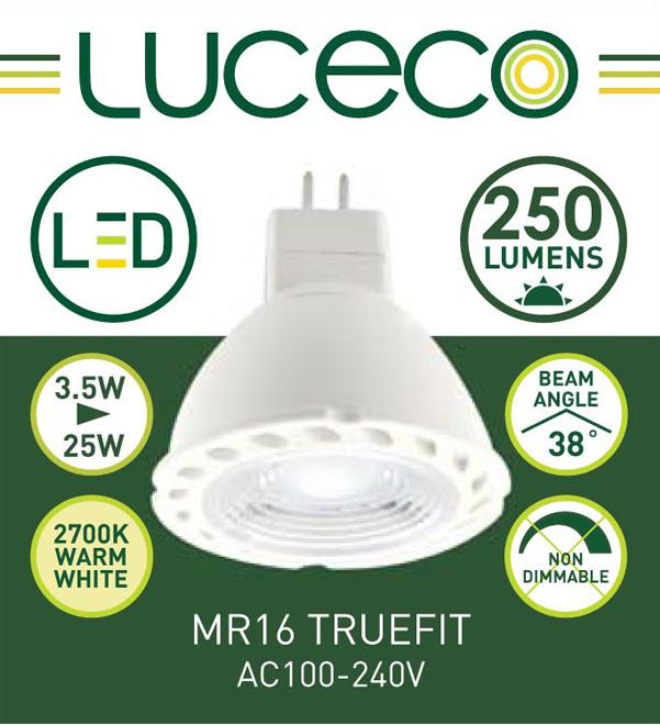 英國Luceco - LED 3.5W MR16 杯膽 射膽 射燈 2700K 暖白光 GU5.3 Truefit LMW3W25AC-1A (必須AC電源)