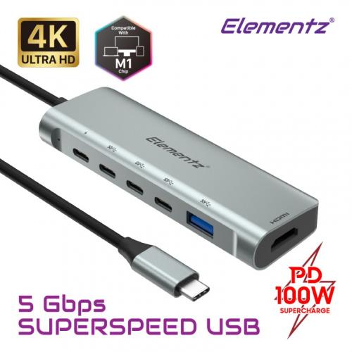 Elementz USB-C 6合1 Type-C Hub擴充器 MC-633G