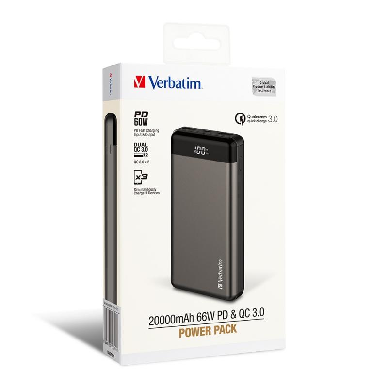 Verbatim 20000mAh 66W PD & QC 3.0 流動充電池 (66699)