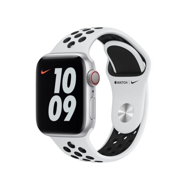 Apple Watch 44MM Nike 運動錶帶 [純銀白色配黑色]