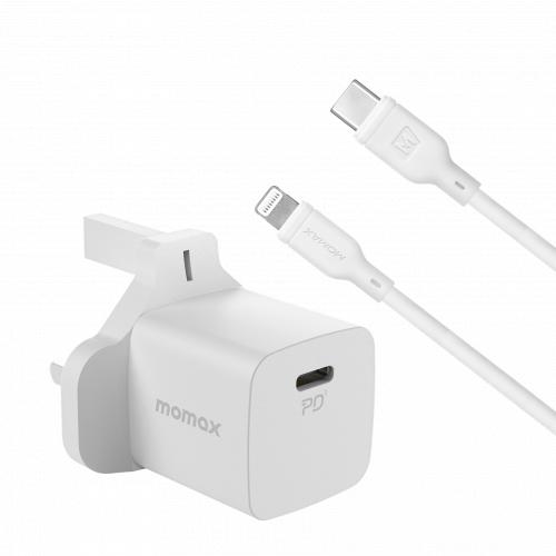 Momax ONEPlug 20W 迷你PD快速充電器 [UM25+DL36] [2色] [送Type C to Lightning Cable]