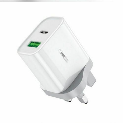 WK Design USB 充電火牛20W QC 3.0 WP-U53有USB Type-C 輸出+ 20W USB-C to Lightning 數據充電線