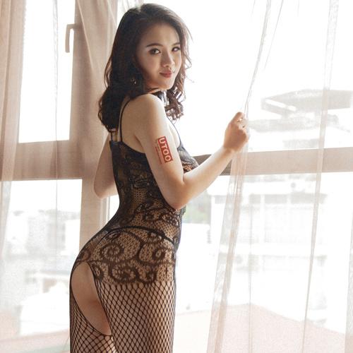 花紋蕾絲綁帶連身網衣 [黑色]
