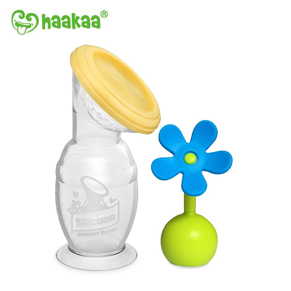 Haakaa矽膠吸奶器(100ml/150ml)+ 防塵瓶蓋+花花塞 [4色]