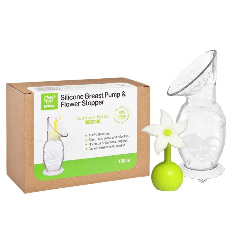 Haakaa 矽膠吸奶器(150ml) 連花花塞禮盒套裝 [2色]