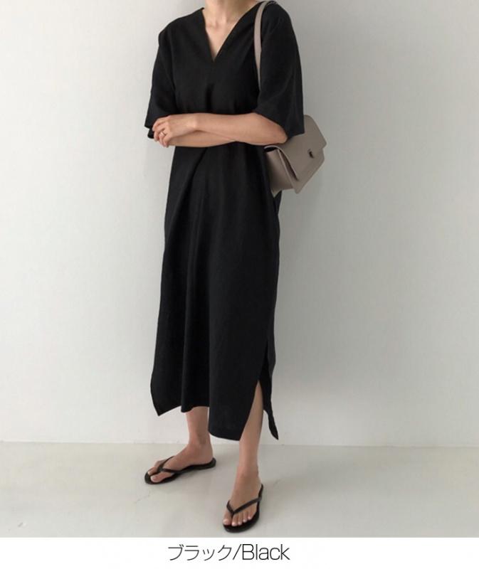 日本半袖 ロング Vネック亞麻連身裙 [2色]