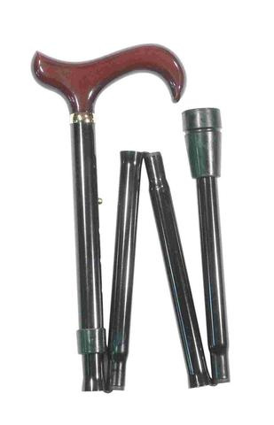 Classic Canes 可摺式手杖連袋套裝 - 酒紅木柄 Classic Canes Black with Burgundy Handle Folding Derby with wallet