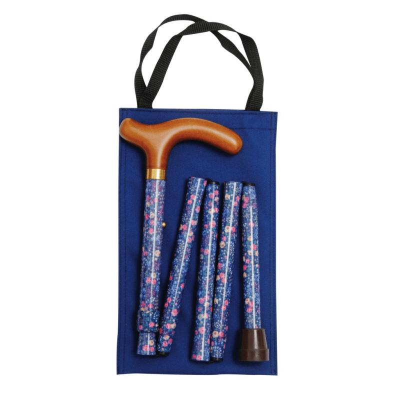 Classic Canes 可摺式手杖連袋套裝 – 藍花 Classic Canes Blue Floral Handbag Folding Cane