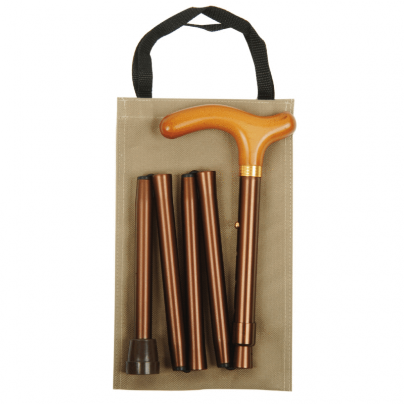 Classic Canes 可摺式手杖連袋套裝 – 金色 Classic Canes Wooden Handle Coffee Brown Folding Handbag Cane
