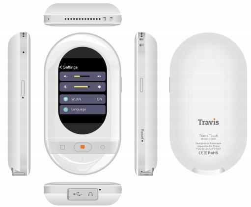 Travis Touch 105種語言AI 語音雙向翻譯機 (黑色/白色)