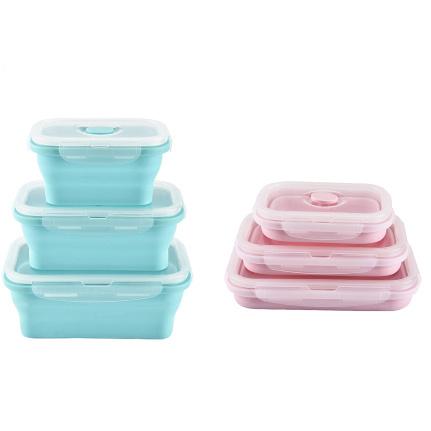 可壓扁伸縮餐盒套裝 [3件] [2色]