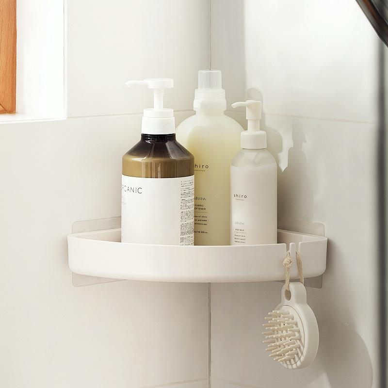 簡潔免打孔浴室三角位收納架