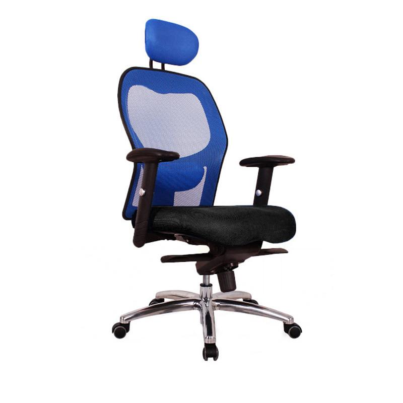 BD01 辦公椅 電腦椅 鋁合金腳 升降扶手 (黑/藍)