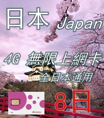 4G日本8日docomo無限上網卡 數據卡