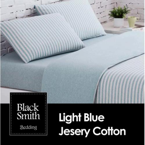 Black Smith 100% 針織全綿床品套裝 藍色 [4尺寸]