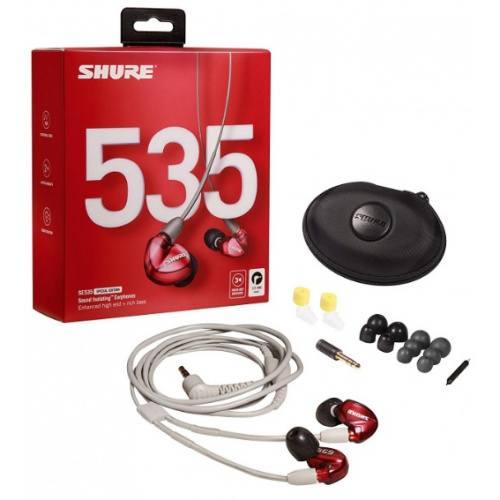 """Shure SE535 - Red Special Edition, light gray standard 3.5mm audio cable (46"""") 入耳式隔音耳機"""