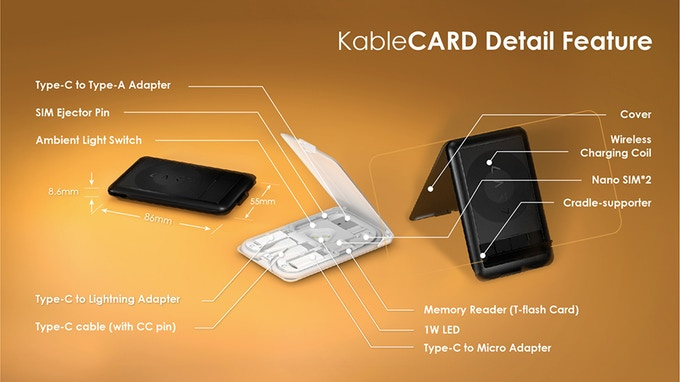KableCARD 都市生存卡 [無線充電/多類型充電線/讀卡機] 【2色】KC7