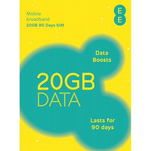 EE - 90日英國,法國48多國及地區歐洲4G/3G 20GB上網卡數據卡Sim卡(只限英國開通)
