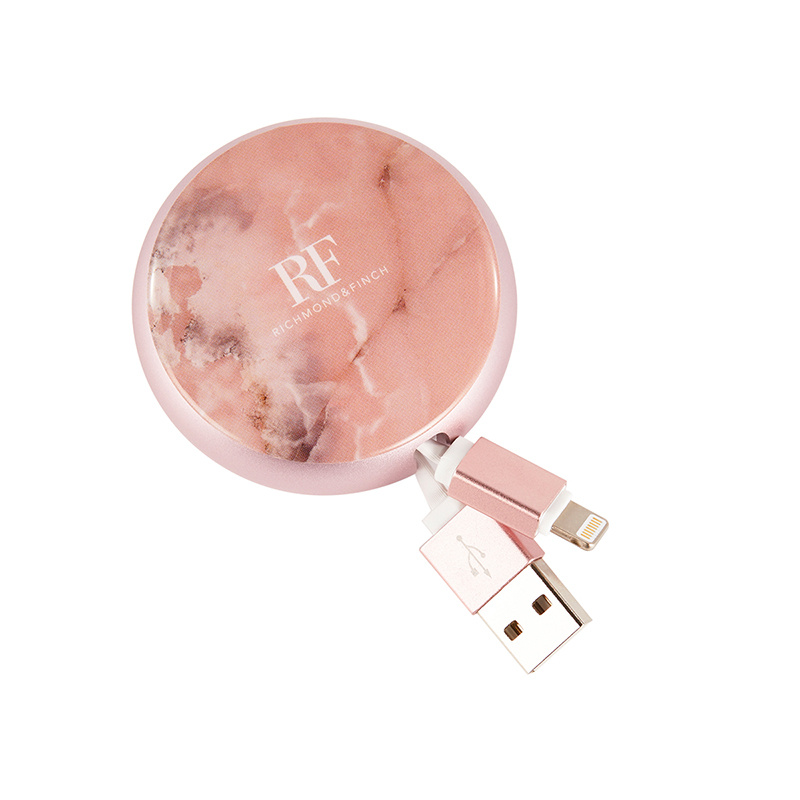 Richmond & Finch Cable Winder - Pink Marble Case with Type C to USB Connector (CWTYPE-114)