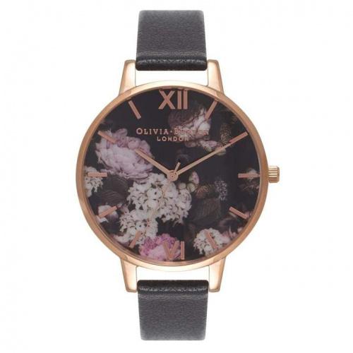 Olivia Burton OB15WG12 Signature Floral Black & Rose Gold 女士皮帶腕錶