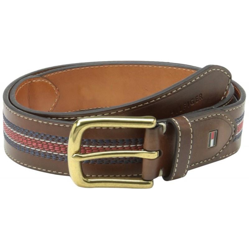 Tommy Hilfiger 11TL02X057 休閒條紋褐色皮帶 [2色]