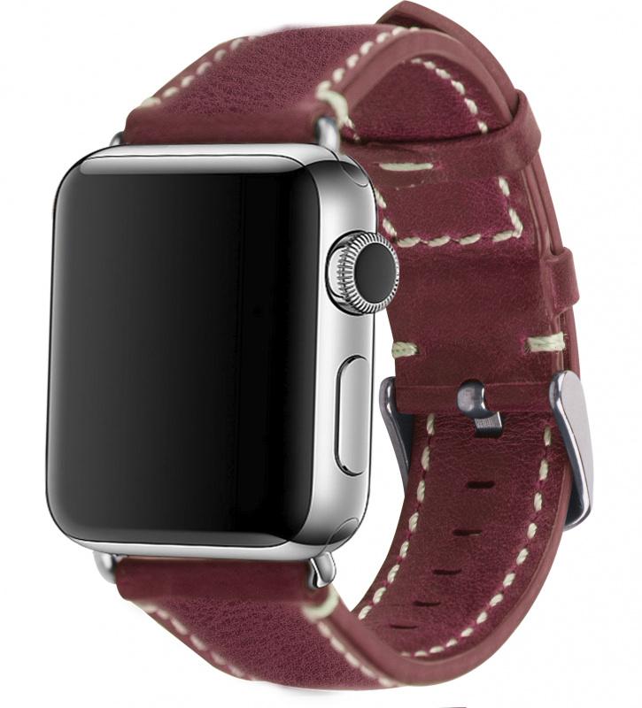Mobest Apple Watch 38mm 油蠟幼紋真皮錶帶 [3色]