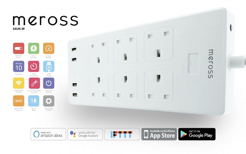 Meross - 6位智能定時遙控拖板 13A 智能家居 (英插) (行貨兩年保養) 順豐工商區免運費