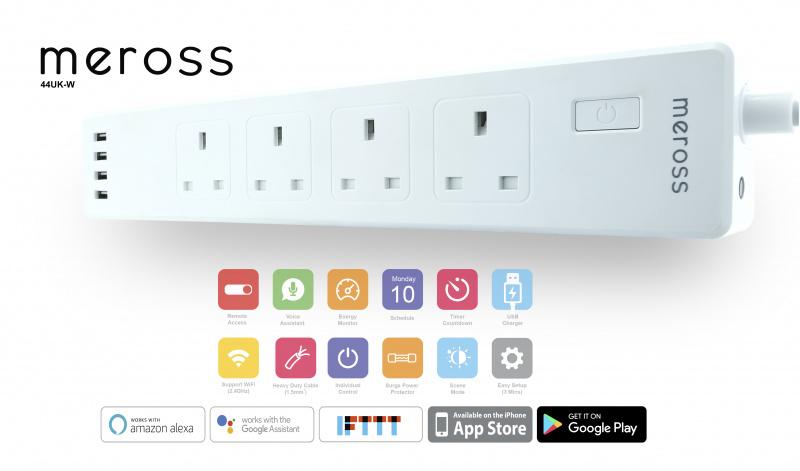 Meross - 4位智能定時遙控拖板 13A 智能家居 (英插) (行貨兩年保養) 順豐工商區免運費