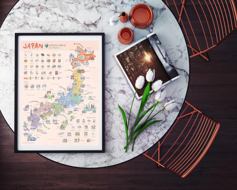 Japan Scratch Map Home Decoration 日本版刮刮地圖