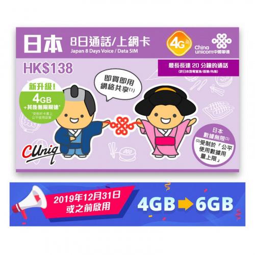 中國聯通 - (通話版)8日日本4G/3G無限使用上網卡數據卡Sim卡電話卡 - 到期日30/11/2021
