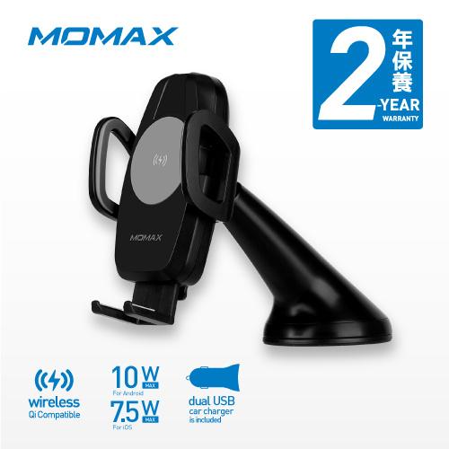 MOMAX Q.Mount 車用無線快速充電支架 支援Qi 10W Max 連雙USB汽車充電器 CM7AD