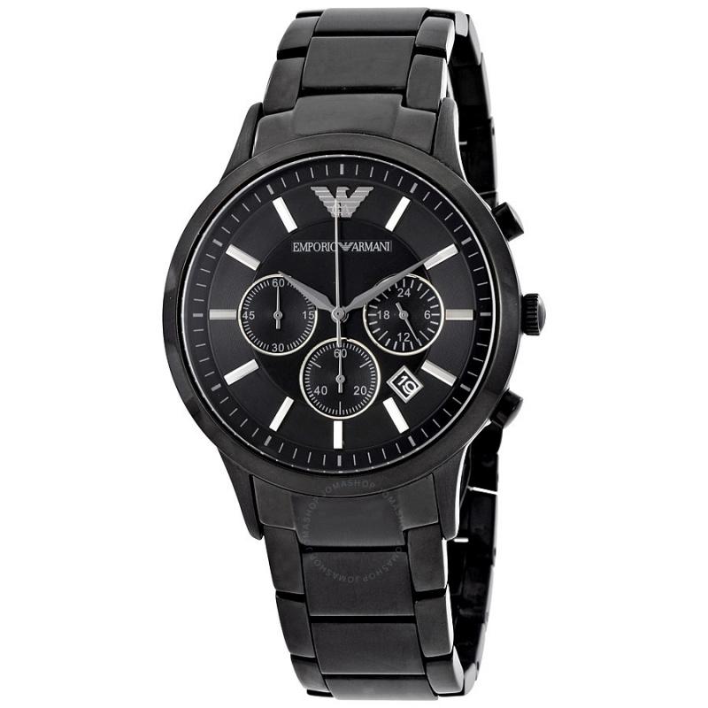 【EMPORIO ARMANI】黑色不銹鋼男士石英手錶 AR2453