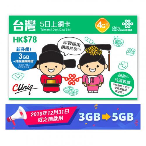 中國聯通 - 5日台灣4G/3G無限上網卡數據卡Sim卡 - 到期日30/11/2021