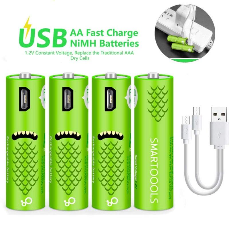 Micro-USB 充電 AA AAA 2A 3A 電芯 筆芯電池 (四件裝)